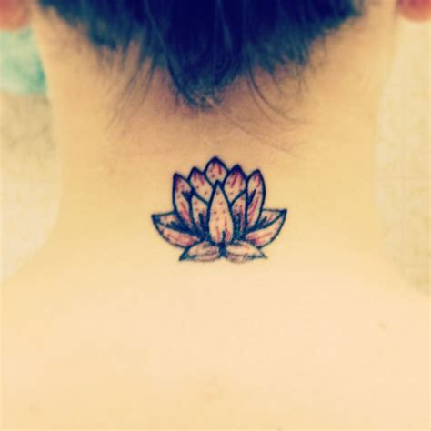 lotus neck tattoo new small lotus neck without the color