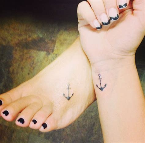 small anchor tattoo on wrist matching small anchor tattoos on wrist and foot