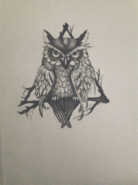 owl tattoo design drawing triangle owl drawing tattoo design print by nicalli on