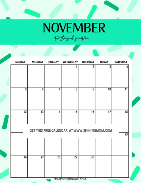 November 2017 Calendar Cute 2018 Calendar Printable Free Calendar Template 2017 November