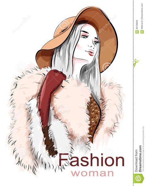 stylish beautiful in hat sketch