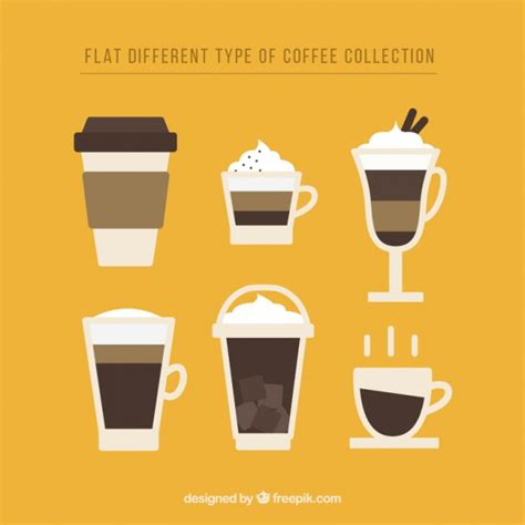 types of coffee mugs flat design of coffee mugs vector free