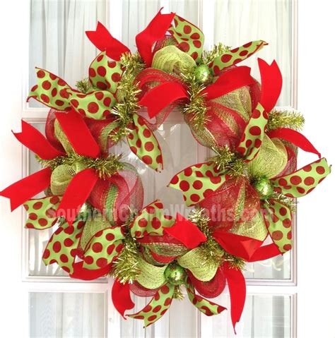 slim deco mesh christmas wreath to fit between screen door