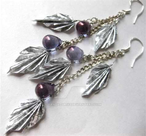 Origami Leaf Earrings - silver leaf origami earrings by pandacub143 on deviantart