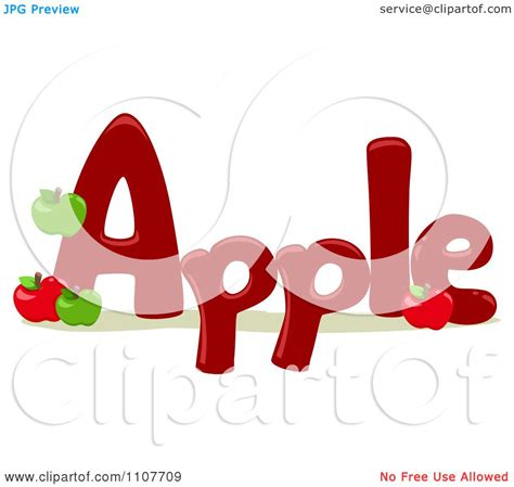 4 Letter Words Apple clipart the word apple for letter a royalty free vector
