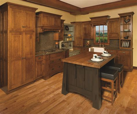 Mission Style Kitchen Island Mission Style White Oak Kitchen Display Craftsman Kitchen Cleveland By Schrocks Of