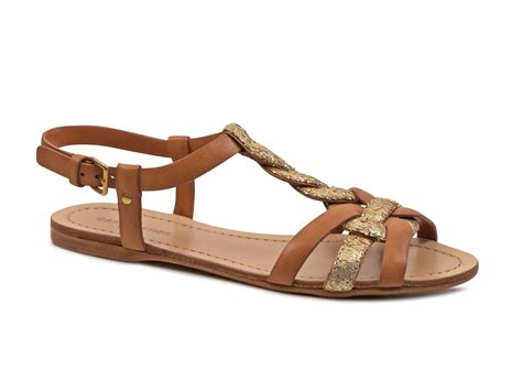 sandals flat car shoe brown leather glitter flat strappy sandals