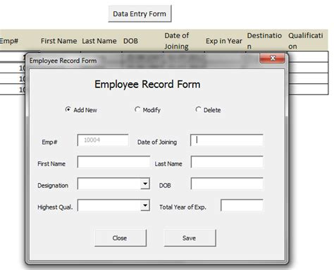 create custom data entry form excel 2010 how to