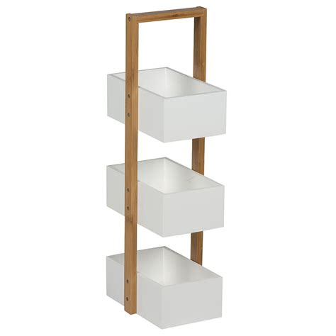 3 tier wooden bathroom caddy white wooden three 3 tier free floor standing bathroom storage caddy tidy shelf ebay