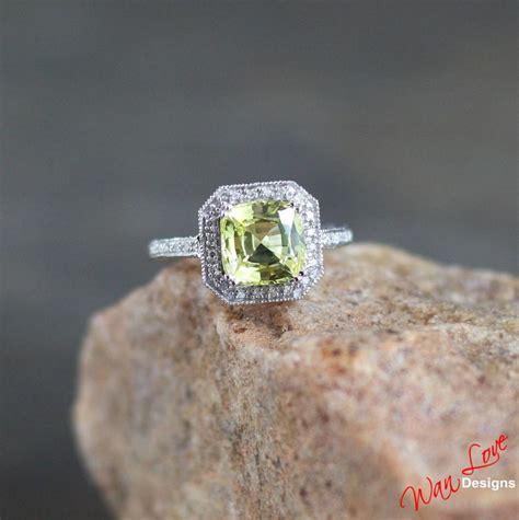 Green Saphire 14 2ct yellow sapphire halo antique filigree engagement