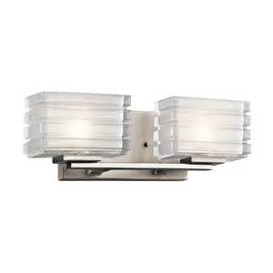 Modern Bathroom Lighting Lowes Shop Kichler Lighting 2 Light Bazely Brushed Nickel Modern