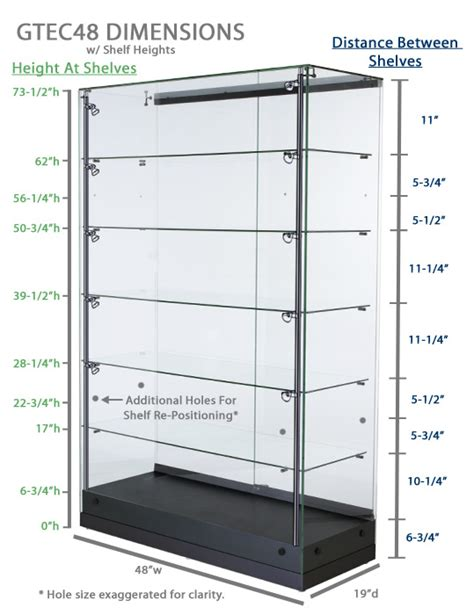 Standard Shelf Height by Vertically Lit Display Illuminated Glass Cabinet