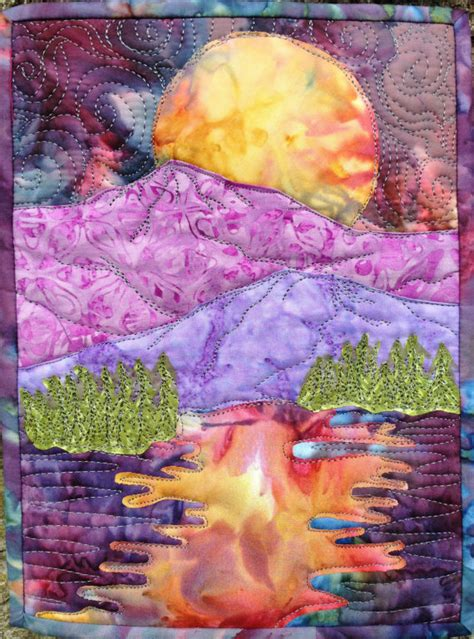 pattern landscape art easy landscape art quilt pattern tutorial moon over the