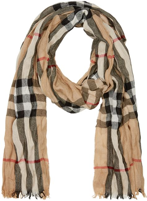 burberry beige check crinkle scarf in for lyst
