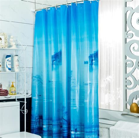 shower curtain free shipping free shipping eco friendly thickening pvc blue print