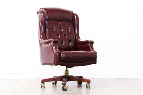 Desk With Bench Seat Vintage Burgundy Leather Chesterfield Style Office Chair