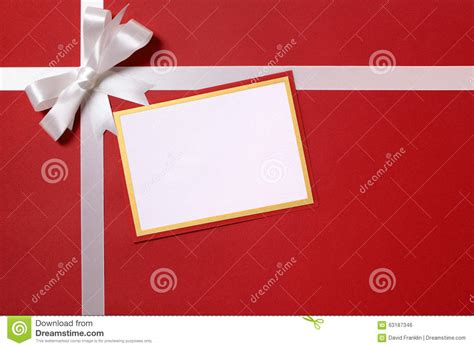 christmas gift card and envelope white ribbon bow red