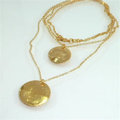 two disc necklace hammered gold disc necklace by inbalmishan