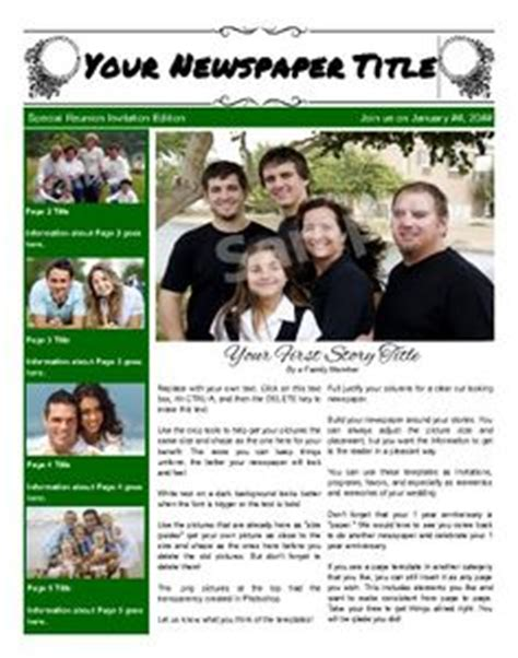 Family Or Class Reunion Birthday Newspaper Templates On Pinterest Newspaper Templates And Family Newspaper Template