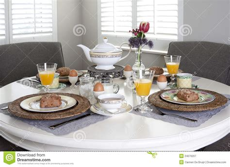 breakfast table dining table laid for breakfast stock image image 24076207