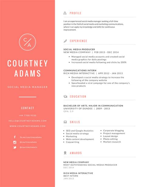 cv format and design free online resume maker canva