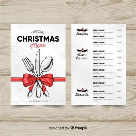 lovely hand drawn christmas menu template vector