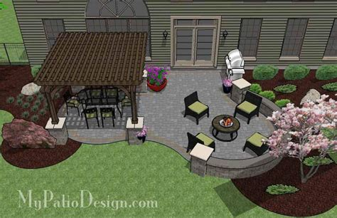 design my patio rectangle patio design with circle pit area 395 sq