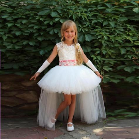 design flower girl dresses 2016 new design short front long back girls pageant