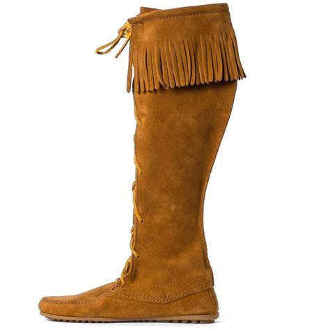 minnetonka front lace knee hi womens boots in brown