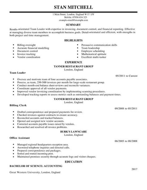 Team Lead Cv Template Cv Sles Exles Team Lead Resume Template
