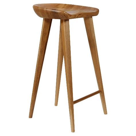 Industrial Kitchen Island by Tractor Contemporary Carved Wood Barstool Natural