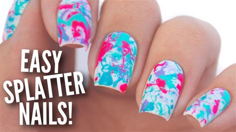 Easy Nail Paint Designs by Easy Paint Splatter Nail Tutorial