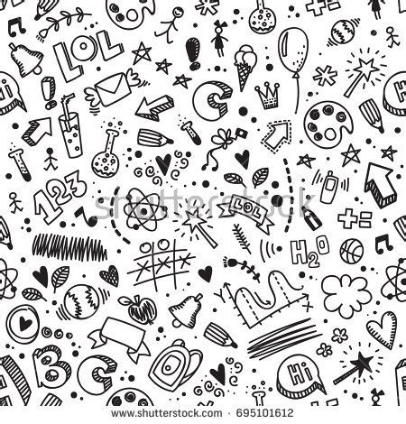 doodle pattern school biology science theory doodle handwriting tool stock
