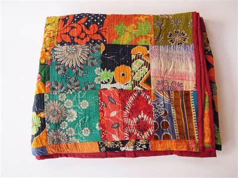 Kantha Patchwork Quilt - sari cotton kantha quilt bedspread blanket throw indian