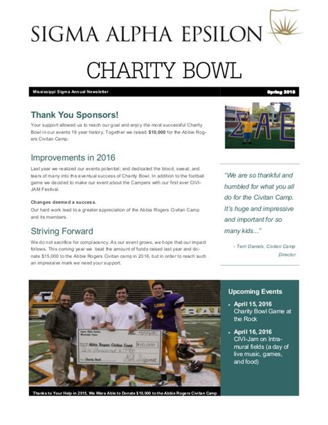 charity newsletter charity bowl newsletter 2016
