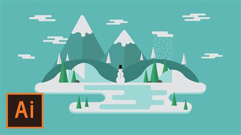 tutorial flat design illustrator illustrator tutorial winter floating landscape