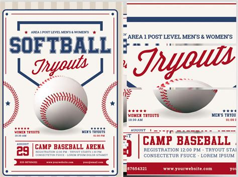 Softball Flyer Template softball tryouts flyer template flyerheroes