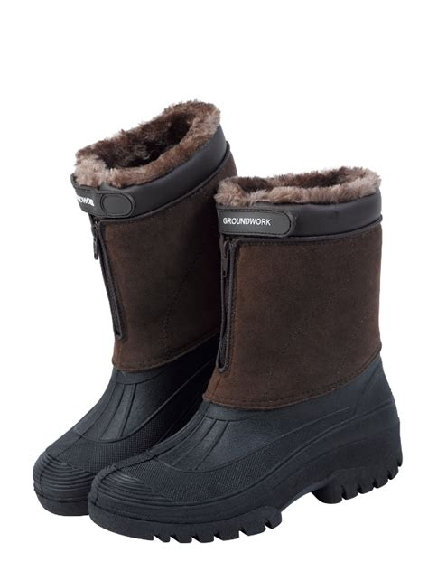 mens fleece lined boots stable yard mens muck boots fleece lined zip up outdoor