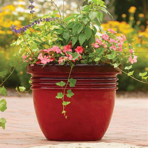 better homes and gardens bombay decorative planter red