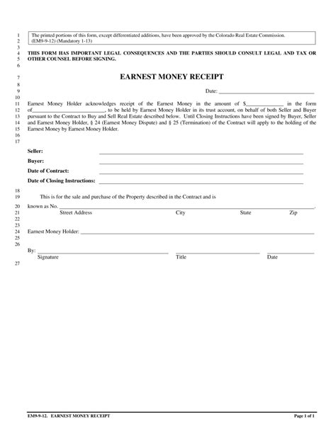 earnest money deposit agreement template earnest money receipt orr real estate services