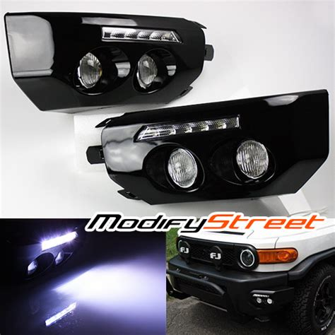 Fj Cruiser Fog Lights by For 07 14 Fj Cruiser Black Front Bumper Wing Led Drl Fog
