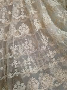 Ivory lace fabric embroidered tulle lace fabric retro bridal lace