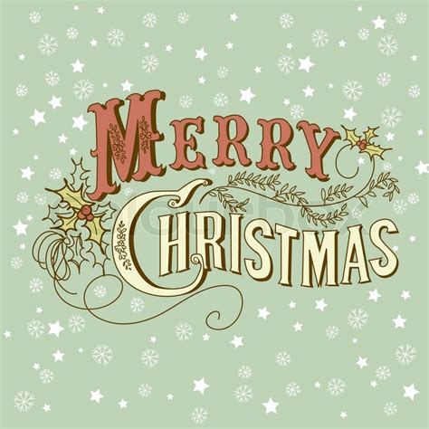 vintage christmas card merry stock vector colourbox