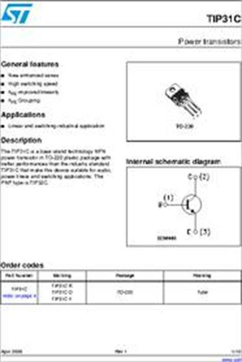 transistor tip31c datasheet tip31c datasheet power transistors general features new enhanced