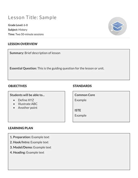 Basic Lesson Plan Template by 5 Free Lesson Plan Templates Exles Lucidpress