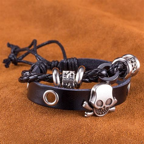 Skull Faux Leather Bracelet 2018 faux leather woven infinity skull bracelet black in