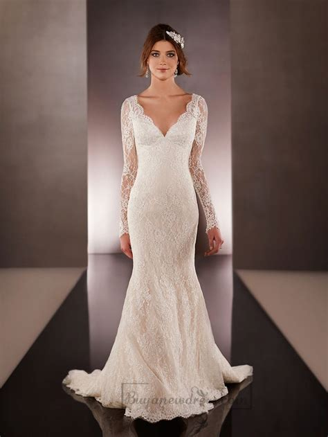 long illusion slleeves  neck lace wedding dresses