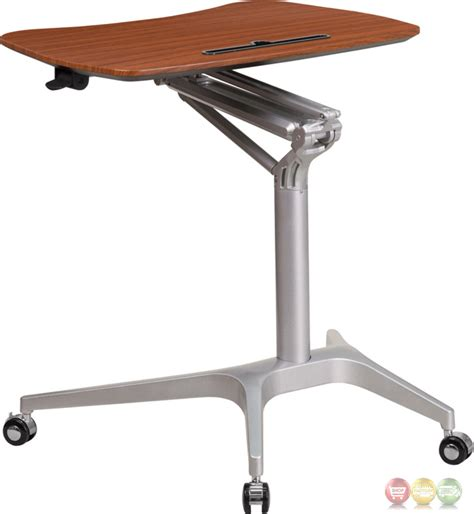 mobile sit stand up mahogany computer desk w 28 75 quot w