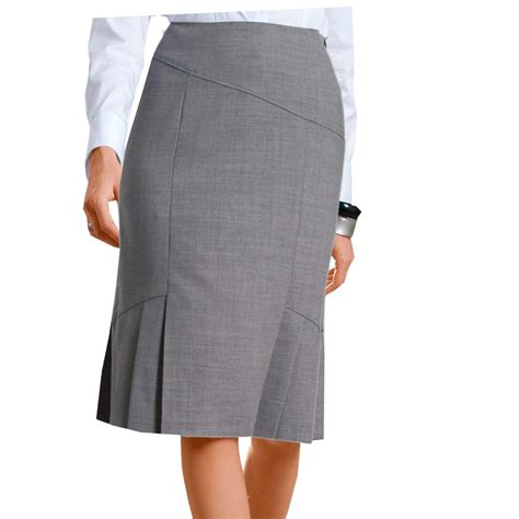 grey pencil skirt with side knife pleats and panel cuts