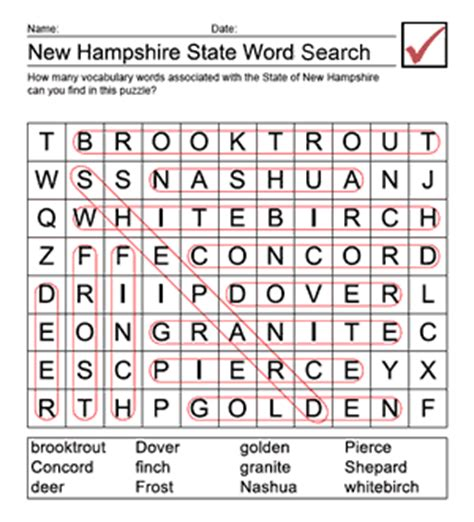 New Hshire Search Printable New Hshire Word Search Answer Sheet Us Geography For Elementary Teachers